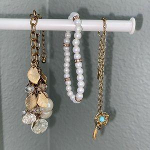 gold pearl dream catcher charm bracelets